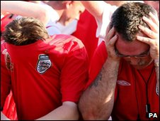 England fans look dejected after England's 2006 World Cup quarter final match against Portugal, which they lost on penalties.