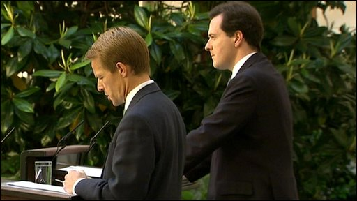 George Osbourne and David Willets announcing the cuts