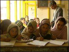 Nargis (right) and classmates at Aschiana