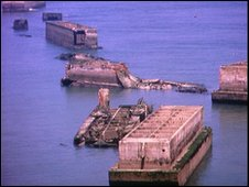 The remains of a Mulberry harbour in Normandy