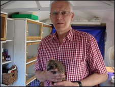 Keith Jones at the Hedgehog Hospital in Pontllanfraith