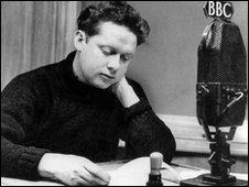 black and white picture of Dylan Thomas