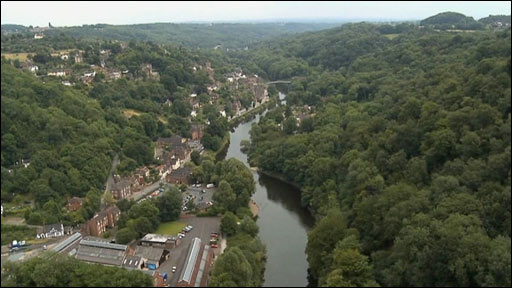 Arial view of Ironbridge