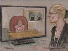 Court drawing of eight-year-old girl giving evidence in rape trial
