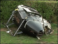 Crashed helicopter