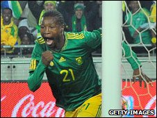 South Africa defender Siyabonga Sangweni celebrates a goal