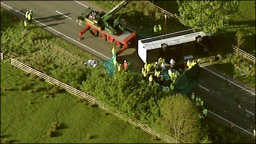 Scene of bus crash on the A66 in Cumbria