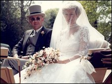 Sue Stone with her father on her wedding day