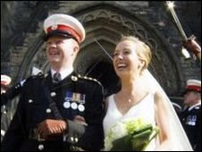 Duncan and Emma Forbes on their wedding day
