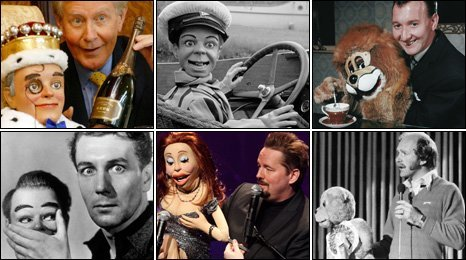 Top row: Ray Alan and Lord Charles; Archie Andrews; Terry Hall and Lenny. Bottom row: Michael Redgrave in Dead of Night; Terry Fator and Vikki; Roger de Courcey and Nookie Bear