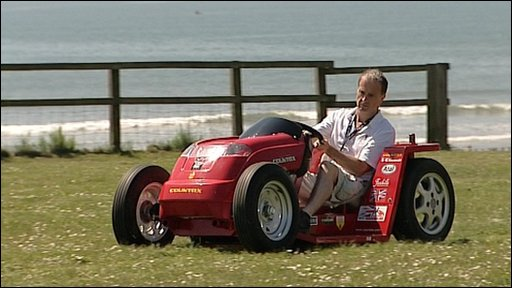 Rider Don Wales on the petrol-driven mower