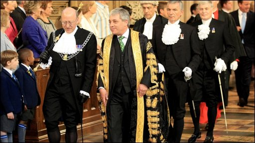 John Bercow walks from Lords to Commons