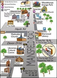 The Sherwood Art Week area map