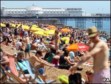 Brighton beach on Sunday