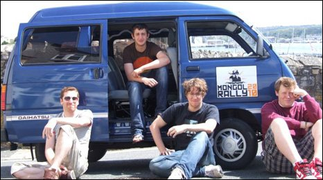 Simon, Hugo, Harris and Matt in their Mongol Rally van