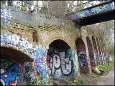 Disused railway line in north London