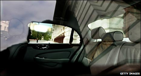 Peering into an empty ministerial car