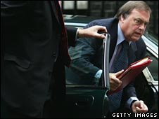 John Prescott exits his official car