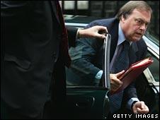 John Prescott exits his official car