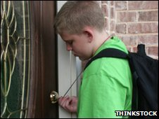Child letting himself into a house