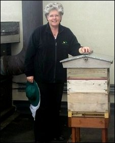 Rosemary Robbins with her beehive