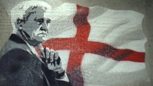 Sir Bobby Robson and an England flag