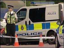 Police at Fleet railway station