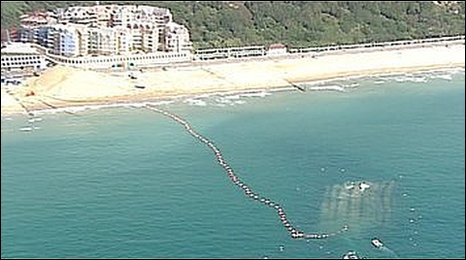 Aerial shot of Boscombe surf reef