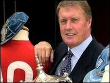 Sir Geoff Hurst with football memorabilia