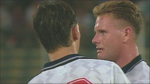 Gary Lineker consoles Paul Gascoigne