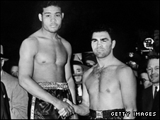 Joe Louis and Max Schmeling before world heavyweight title fight in 1938