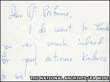 A letter to Foreign Office minister John Profumo written by British ballerina Dame Margot Fonteyn.