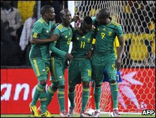 Teko Modise (second from right) celebrates with team-mates