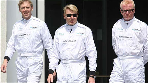 Jonny Saunders, Mika Hakkinen and Chris Evans