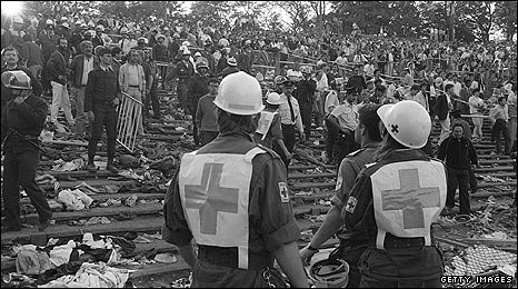 Emergency workers search for injured fans at Heysel