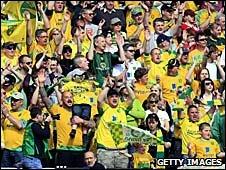 Norwich fans celebrate promotion from League One