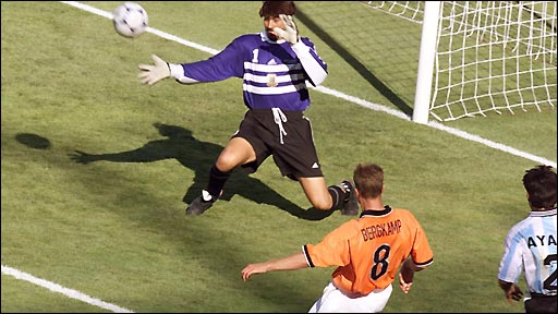 Dennis Bergkamp scores for Holland against Argentina in the 1998 World Cup in France