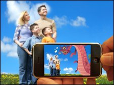 Family viewed through smartphone