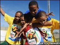 Children in South Africa celebrate the forthcoming FIFA 2010 World Cup