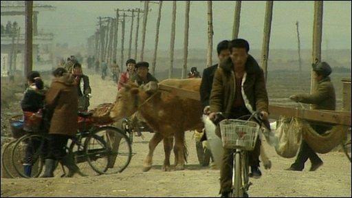 North Korean village scene