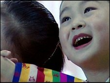 Girls in a kindergarten in North Korea