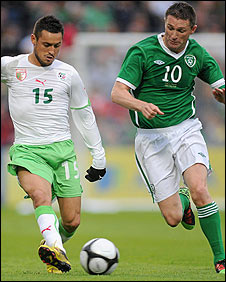 Karim Ziani of Algeria competes against Republic skipper Robbie Keane