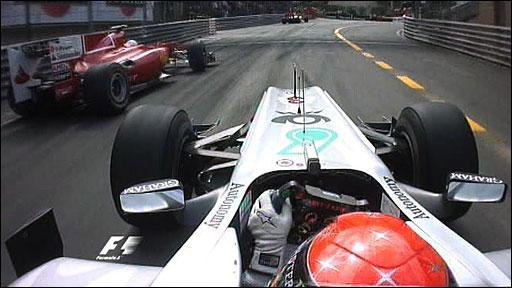 Michael Schumacher overtakes Fernando Alonso in Monaco