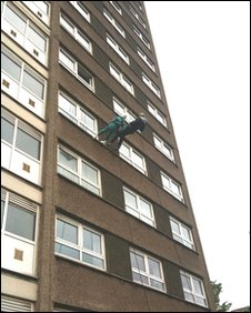 Doris Long and Chris Evans abseiling together