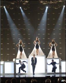 Josh Dubovie performing at Eurovision 2010