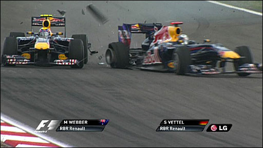 Mark Webber and Sebastian Vettel collide at the Turkish GP
