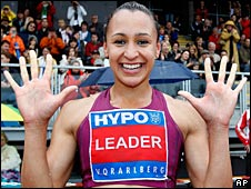 Jessica Ennis smiles for the camera after the closing 800m