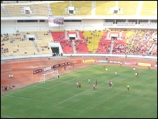 Empty seats at the Angola v Malawi CHAN qualifier at the 11th November Stadium in Luanda