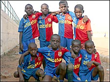 Youngsters playing at a community stadium in Sambizanga in Lunanda