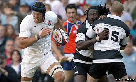 James Haskell races over for the first England try having sidestepped Barbarians full-back Paul Warwick, who then ran straight into team-mate Paul Sackey